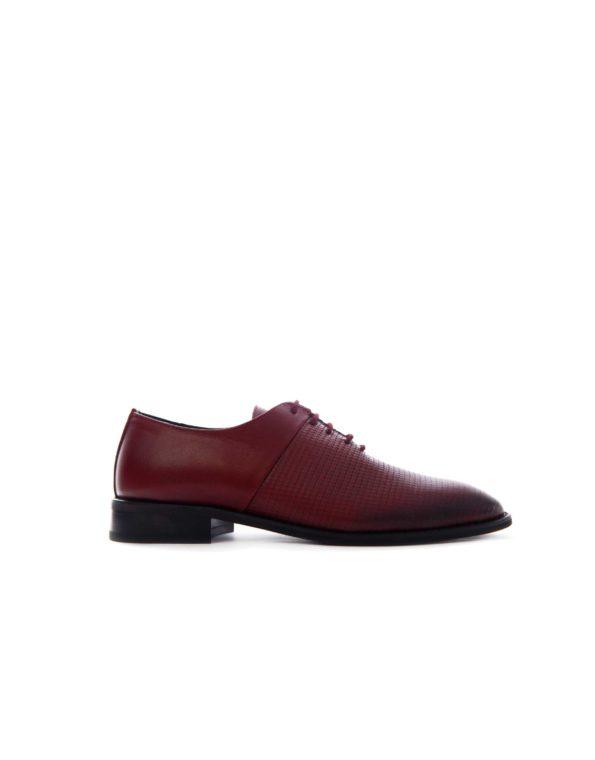 Ανδρικά Δερμάτινα Κλασσικά Δετά Παπούτσια – Μπορντώ