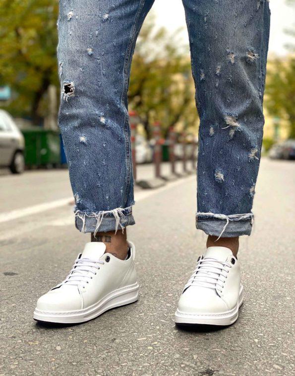 Ανδρικά Δερμάτινα Sneaker Λευκό