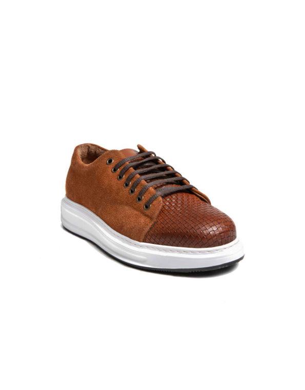 Ανδρικό Δερμάτινο Sneaker με Καστόρι – Ταμπά