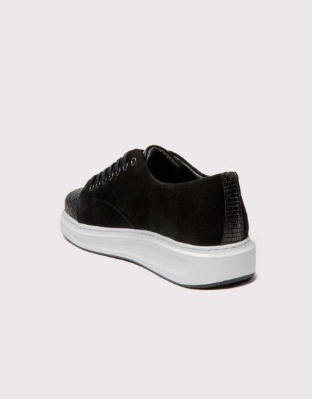 Ανδρικό Δερμάτινο Sneaker με Καστόρι - Μαύρο
