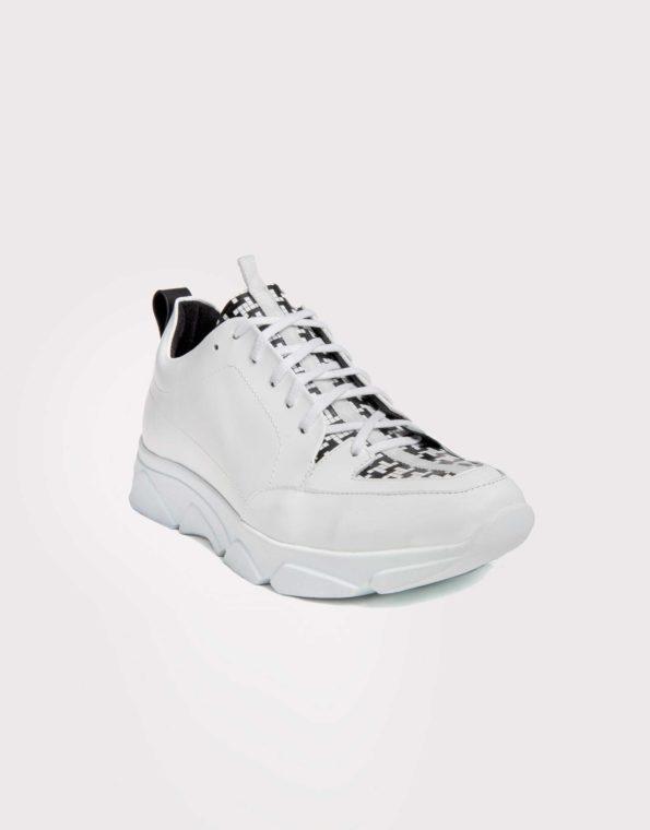 Ανδρικό Δερμάτινο Sneaker Λευκό με Μοτίβο Τέτρις