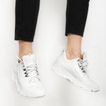 Ανδρικό Όλο Λευκό Δερμάτινο Sneaker, Χοντρή Σόλα και Τρουκς στα Κορδόνια