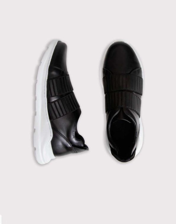 Ανδρικό Δερμάτινο Sneaker Slipon με Λάστιχο – Μαύρο