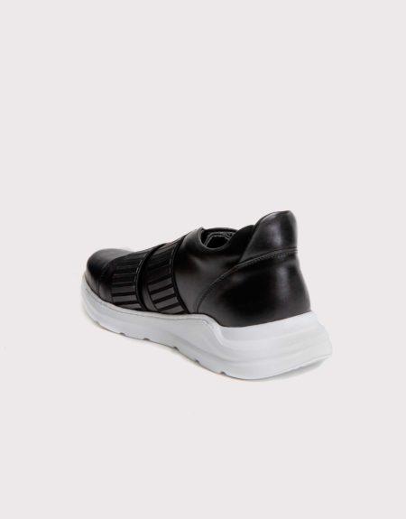 Ανδρικό Δερμάτινο Sneaker Slipon με Λάστιχο - Μαύρο