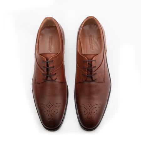 Ανδρικά Δερμάτινα Κλασσικά Χειροποίητα Δετά Παπούτσια Ταμπά Χρώμα