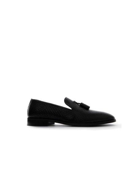 Κλασσικά Δερμάτινα Ανδρικά Loafers - Μαύρο