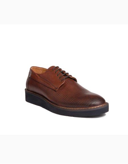 Ανδρικά Δερμάτινα Κλασσικά Δετά Παπούτσια Καφέ Χρώμα, Τυπωτό Δέρμα