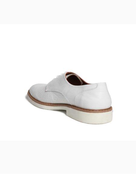 Ανδρικά Δερμάτινα Κλασσικά Δετά Παπούτσια Λευκό Χρώμα, Τυπωτό Δέρμα