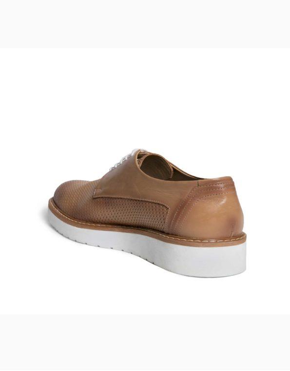 Ανδρικά Δερμάτινα Κλασσικά Δετά Παπούτσια Μπεζ Χρώμα, Τυπωτό Δέρμα