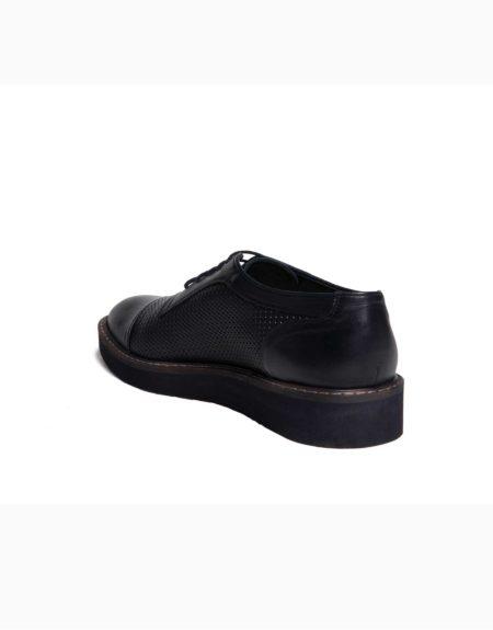 Ανδρικά Δερμάτινα Κλασσικά Δετά Παπούτσια Μπλε Χρώμα, Τυπωτό Δέρμα