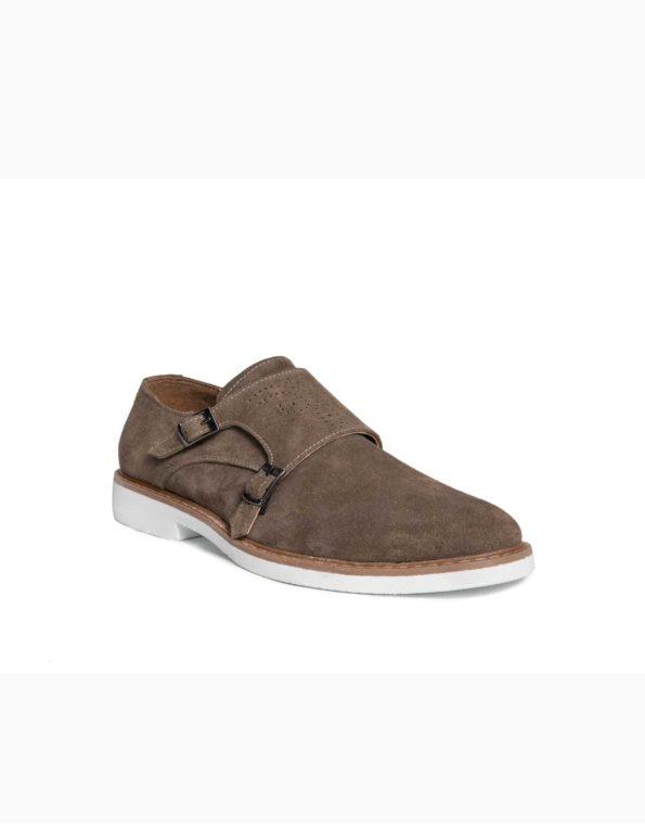 Ανδρικά Δερμάτινα Παπούτσια Πουρό Χρώμα με Διπλή Αγκράφα, τύπου Monk