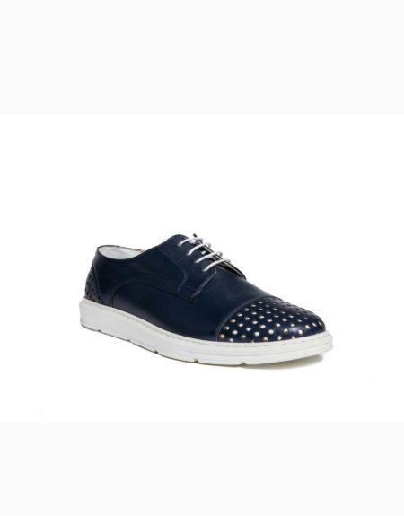 Ανδρικό Δερμάτινο Καλοκαιρινό Μπλε Sneaker με Εικονικές Τρύπες