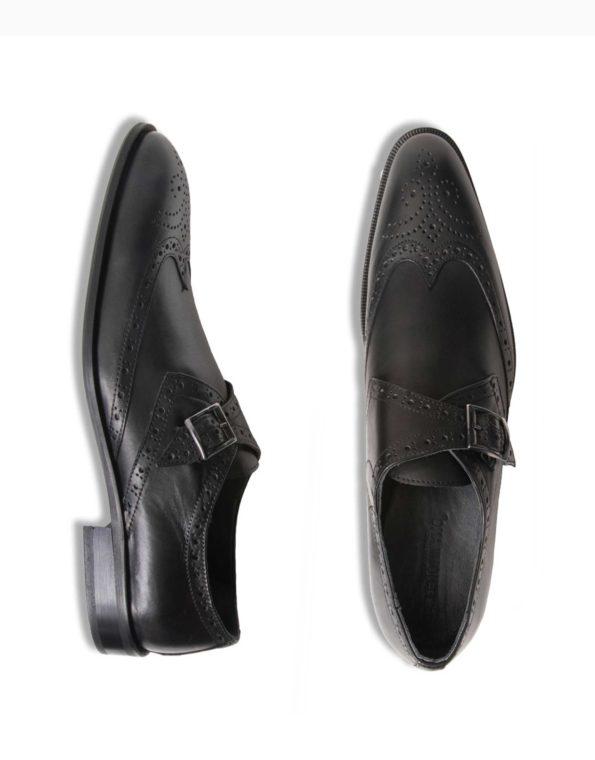 Ανδρικά Δερμάτινα Κλασσικά Χειροποίητα Παπούτσια με Αγκράφα Μαύρο Ματ χρώμα