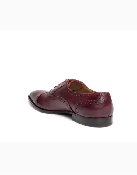 Ανδρικά Δερμάτινα Κλασσικά Χειροποίητα Δετά Παπούτσια Μπορντώ Χρώμα