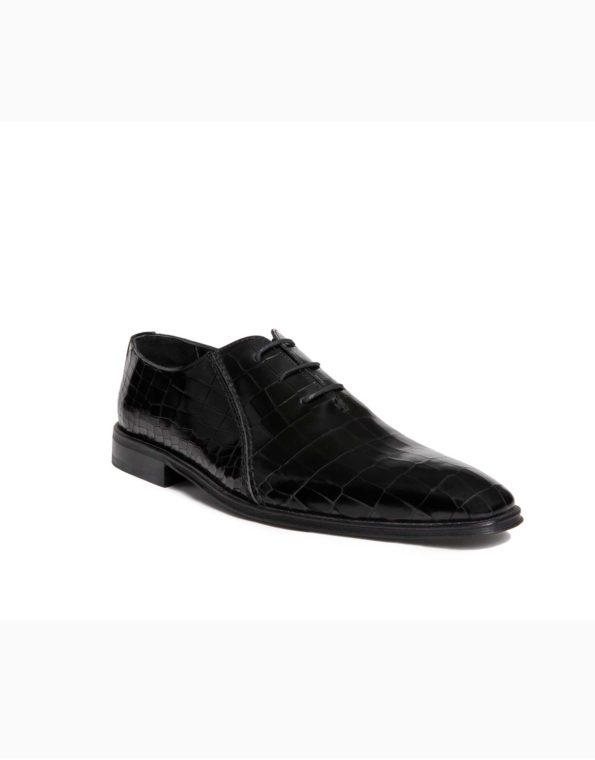 Ανδρικά Δερμάτινα Κλασσικά Χειροποίητα Δετά Παπούτσια Κροκό Μαύρο Γυαλιστερό χρώμα