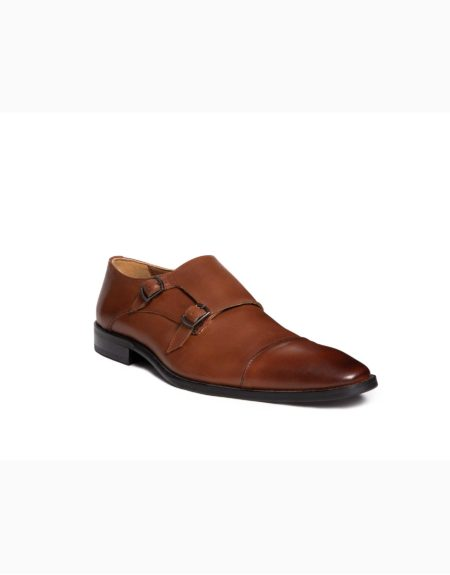 Ανδρικά Δερμάτινα Κλασσικά Χειροποίητα Παπούτσια με Διπλή Αγκράφα Ταμπά Ματ χρώμα