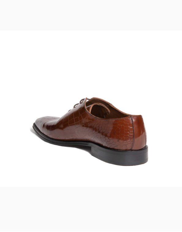 Ανδρικά Δερμάτινα Κλασσικά Χειροποίητα Δετά Παπούτσια Κροκό Ταμπά Γυαλιστερό χρώμα