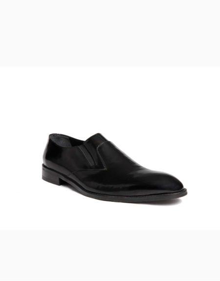 Ανδρικά Δερμάτινα Κλασσικά Χειροποίητα Παπούτσια Slip-on Μαύρο Γυαλιστερό χρώμα