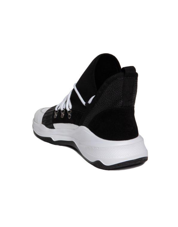 Ανδρικό Ασπρόμαυρο Δερμάτινο Sneaker, Λεπτομέρεια Neoprene ύφασμα