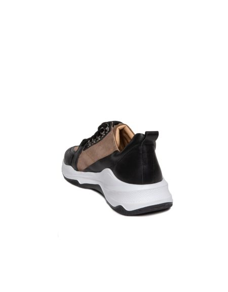 Ανδρικό Δερμάτινο-Suede Sneaker με Μαύρα Κορδόνια