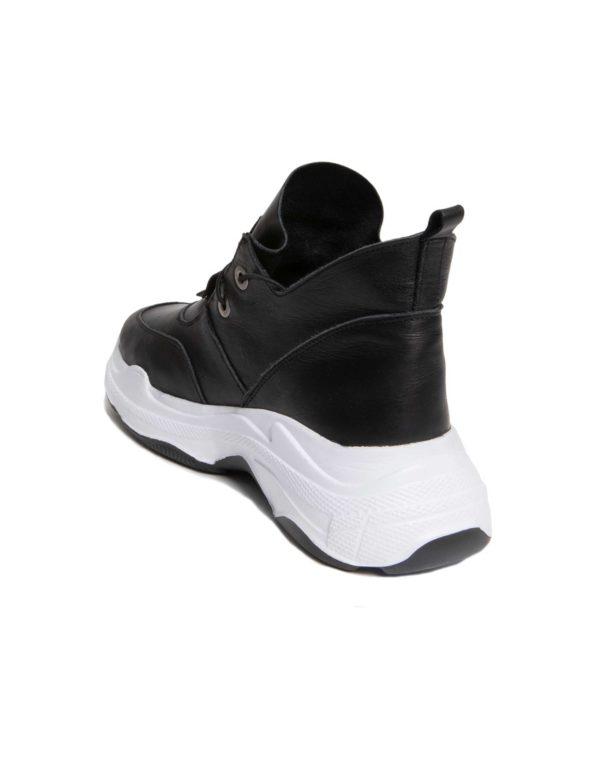Γυναικείο Δερμάτινο Ημίμποτο Sneaker με Κορδόνι Λάστιχο και Λευκή Σόλα