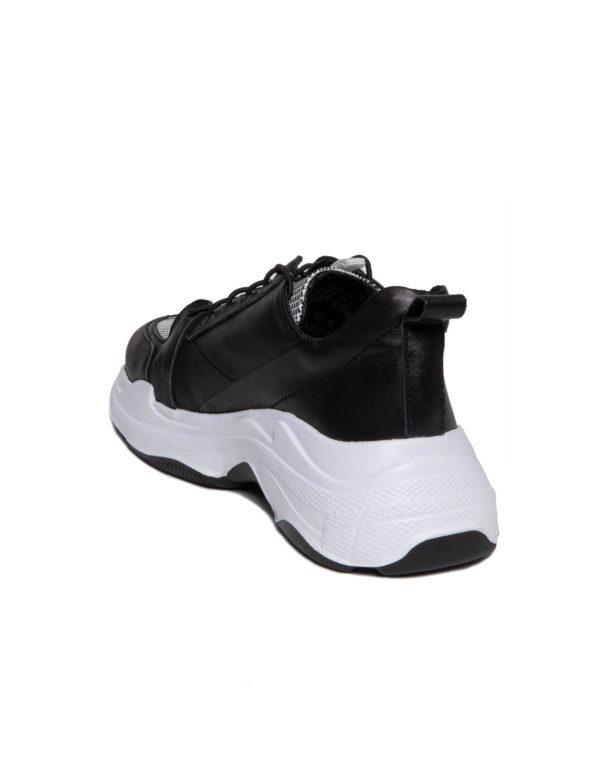 Γυναικείο Δερμάτινο Sneaker με Κορδόνι Λάστιχο και Λευκή Σόλα, Μοτίβο