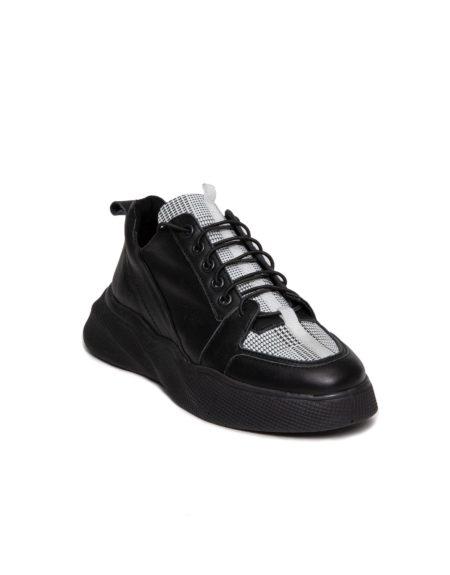 Γυναικείο Δερμάτινο Sneaker με Κορδόνι Λάστιχο και Μαύρη Σόλα, Μοτίβο