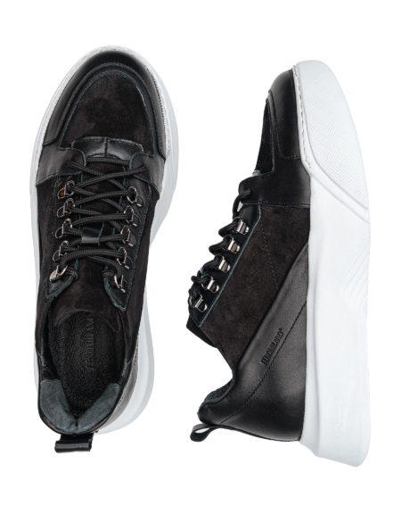 Ανδρικό Δερμάτινο Sneaker - Μαύρο (2948)
