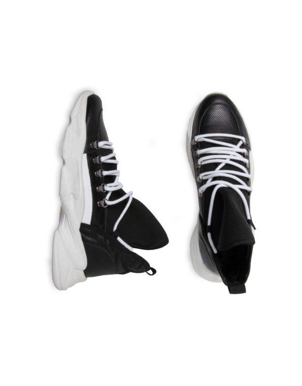 Ανδρικό Ημίμποτο Μαύρο Δερμάτινο Sneaker, Λεπτομέρεια Neoprene ύφασμα