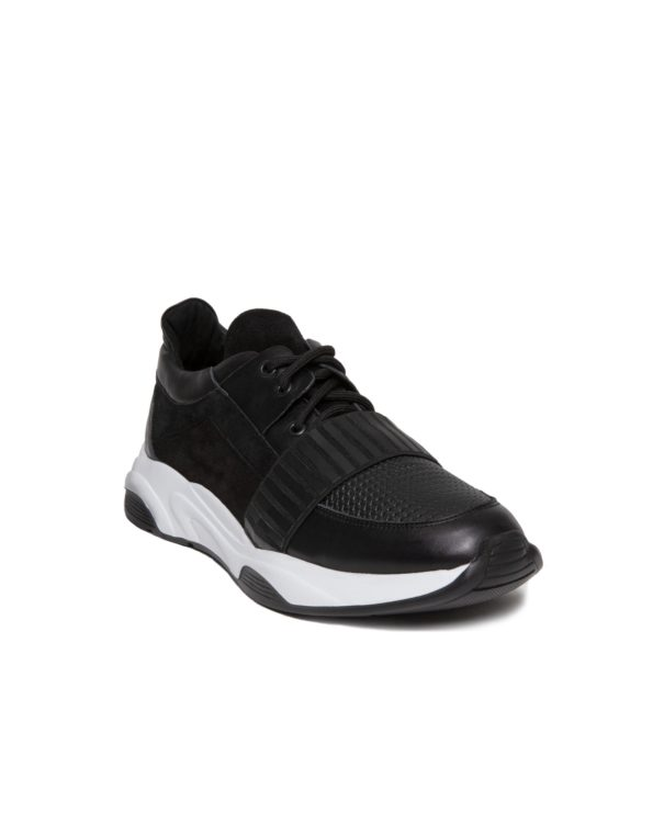 Ανδρικό Total Black Δερμάτινο Sneaker, Λεπρομέρεια Μαύρο Λάστιχο