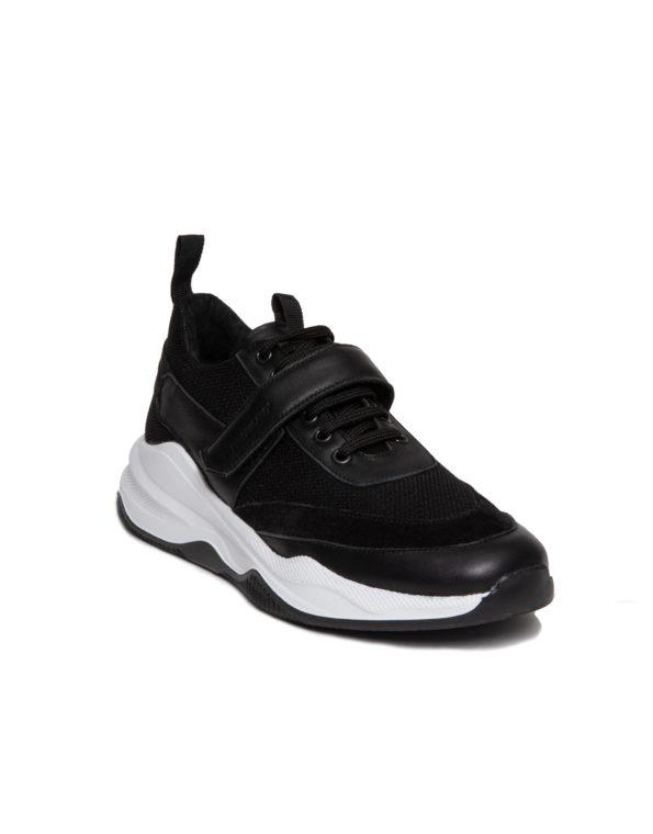 Sneaker Ανδρικό Δερμάτινο με Suede Σημεία, Χρατς στο Πάνω μέρος