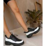 Γυναικείο Ασπρόμαυρο Δερμάτινο Sneaker Αστραγάλου με Κορδόνι Λάστιχο