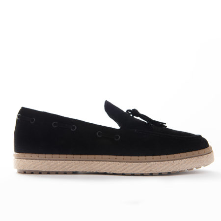 Loafer Espadrilla Suede Leather - Black