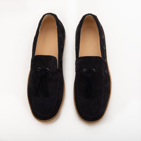 Loafer Espadrilla Suede Leather - Navy