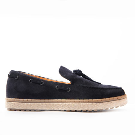 Loafer Espadrilla Suede Leather - Navy