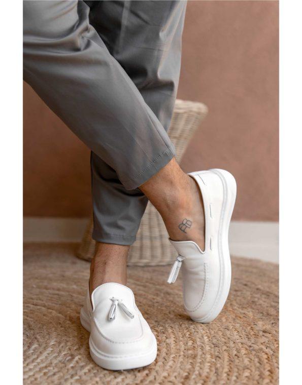 Ανδρικά Δερμάτινα Loafer Total White