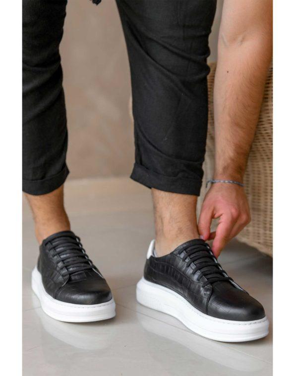 Ανδρικά Δερμάτινα Sneakers Croco Τύπωμα Μαύρο
