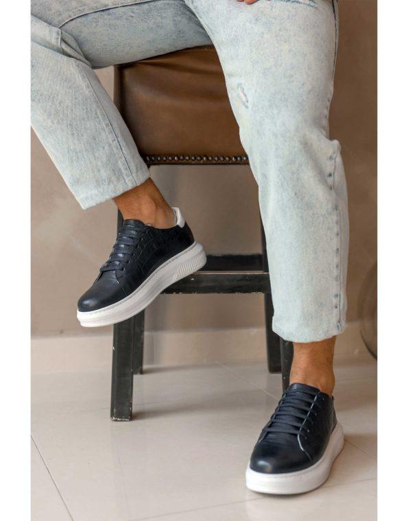 Ανδρικά Δερμάτινα Sneakers Croco Τύπωμα Μπλε
