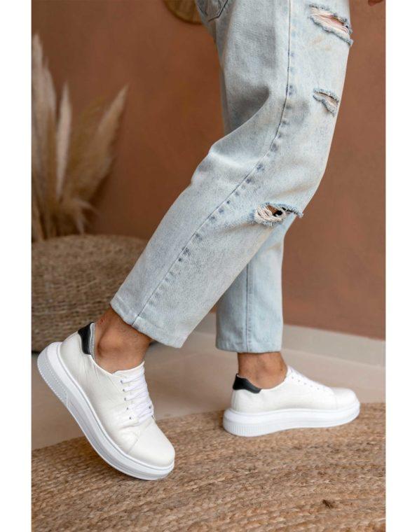 Ανδρικά Δερμάτινα Sneakers Croco Τύπωμα Λευκό