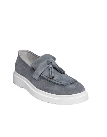 Ανδρικά Suede Leather Loafers Light Grey