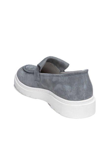 Ανδρικά Suede Leather Loafers Light Grey