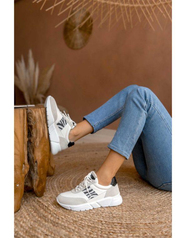 Γυναικείο Δερμάτινο Sneaker Print Zebra