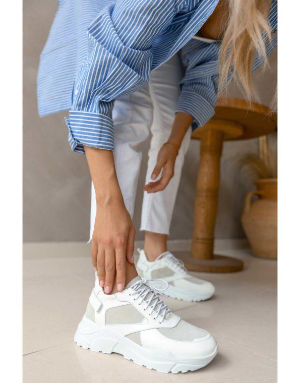 Γυναικείο Δερμάτινο Λευκό/Ice Sneaker