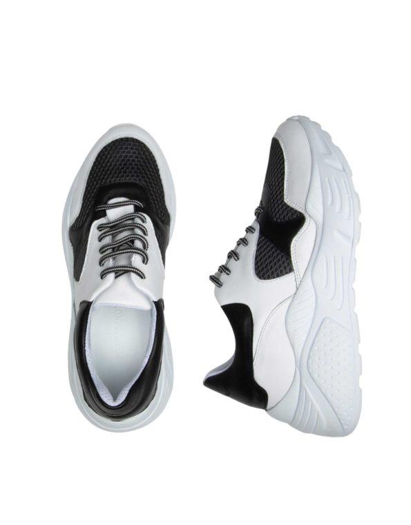 Γυναικείο Δερμάτινο Sneaker Άσπρο/Μαύρο