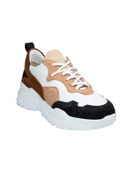 Γυναικείο Δερμάτινο Sneaker Tricolour