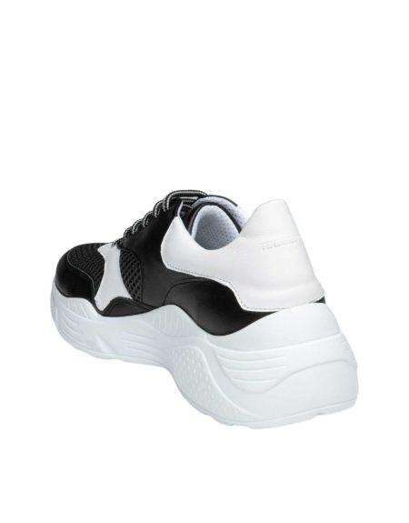 Γυναικείο Δερμάτινο Sneaker Μαύρο/Άσπρο
