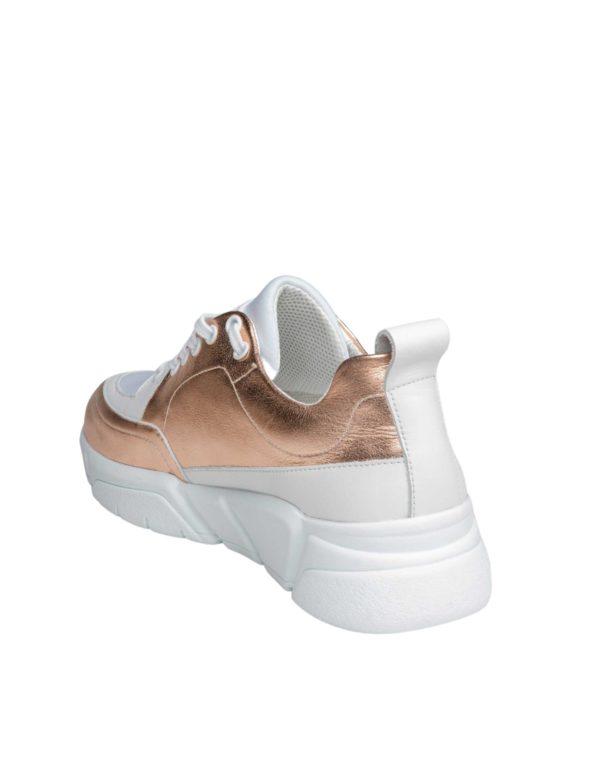 Γυναικείο Δερμάτινο Sneaker Rose Gold