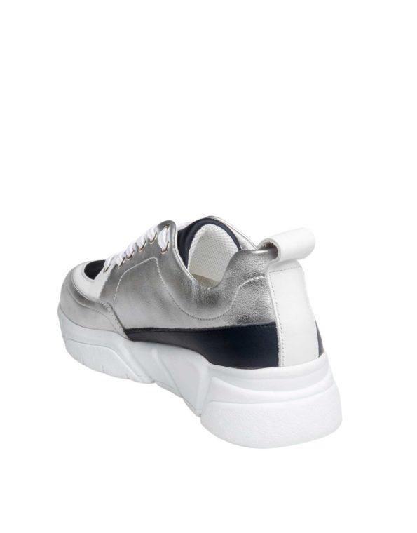Γυναικείο Δερμάτινο Sneaker Silver Blue