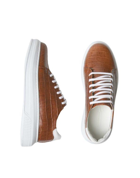 Ανδρικά Δερμάτινα Sneakers Croco Τύπωμα Ταμπά