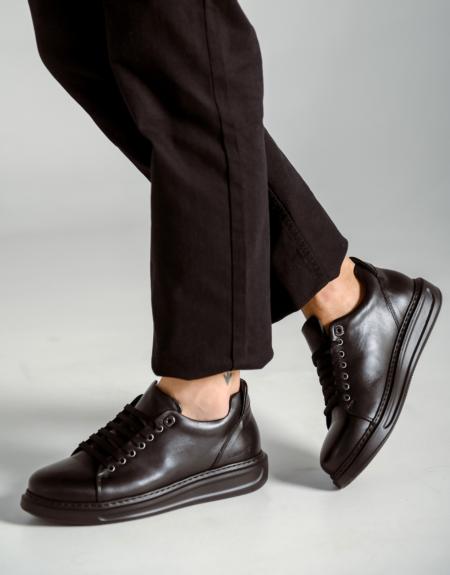Ανδρικό Δερμάτινο Sneaker - Total Black (108 T. Black)